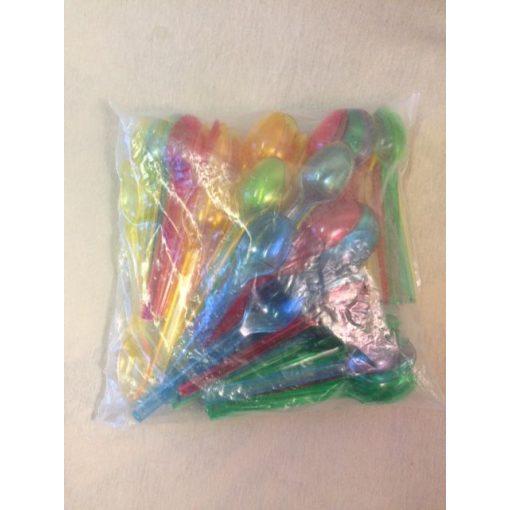 Műanyag színes kiskanál (100db)