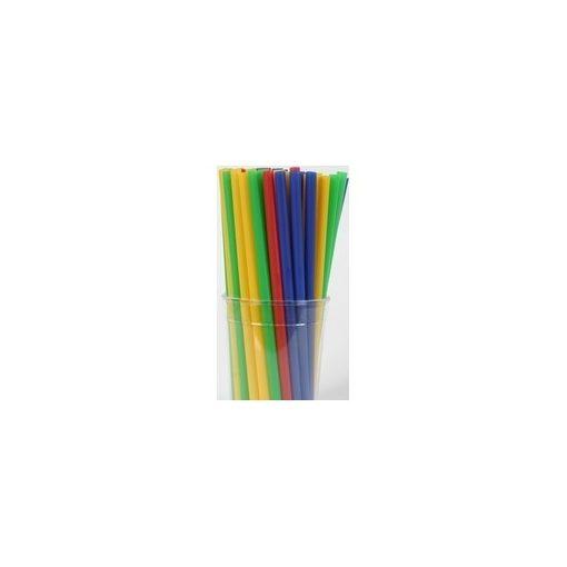 Szívószál egyenes színes/fekete (500db/cs)