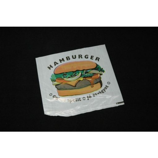 Hamburger tasak nylon feliratos (100db/cs)
